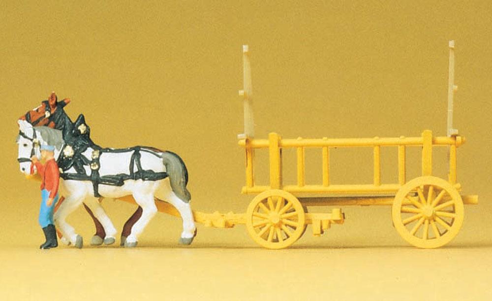 2頭立てのかご荷馬車 :プライザー 塗装済完成品 N(1/160) 79476