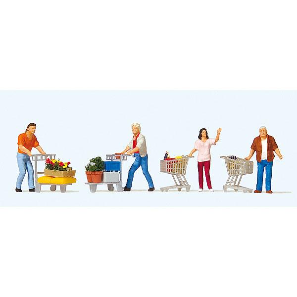 ショッピングカートで買い物する人々 :プライザー 塗装済完成品 HO(1/87) 10722