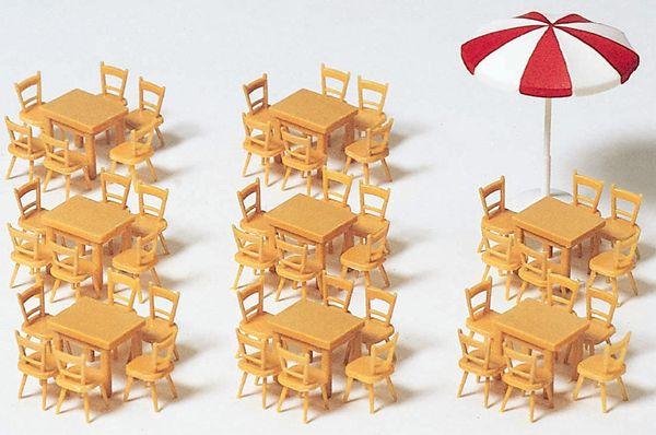 机8台、椅子48脚、パラソル :プライザー キット HO(1/87) 17201