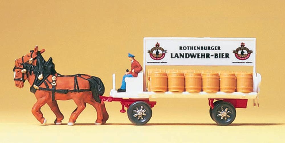 馬に牽かれるビールを乗せた荷馬車 :プライザー 塗装済完成品 N(1/160) 79478