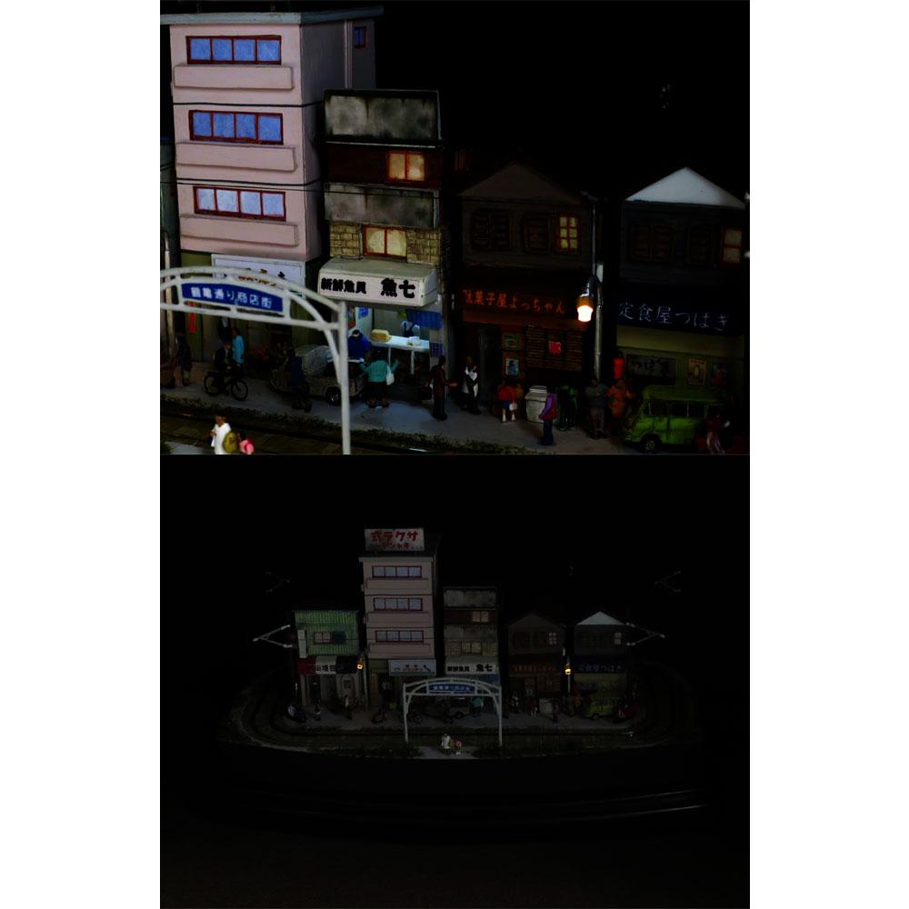ダイソーケースレイアウト#14 「昭和下町 商店街2」 :石川宜明 塗装済完成品 1/150サイズ