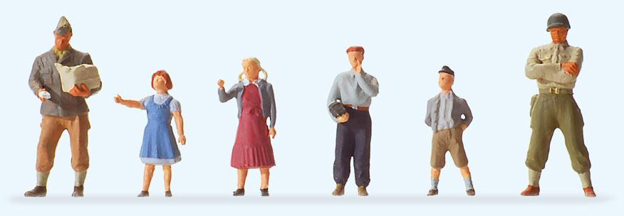1950年ごろのアメリカ軍人と子供たち :プライザー 塗装済完成品 HO(1/87) 10613
