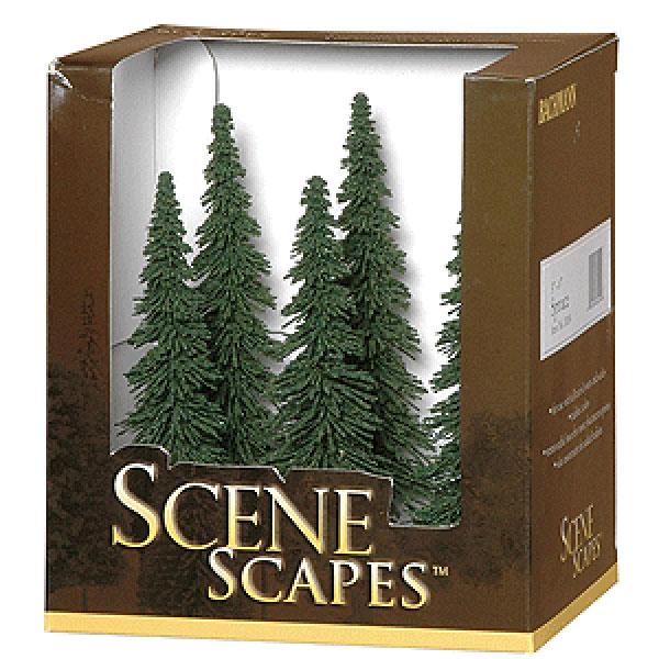 針葉樹(トウヒの木 Spruce) 12.7〜15.2cm 6本入り :バックマン 完成品 ノンスケール 32004