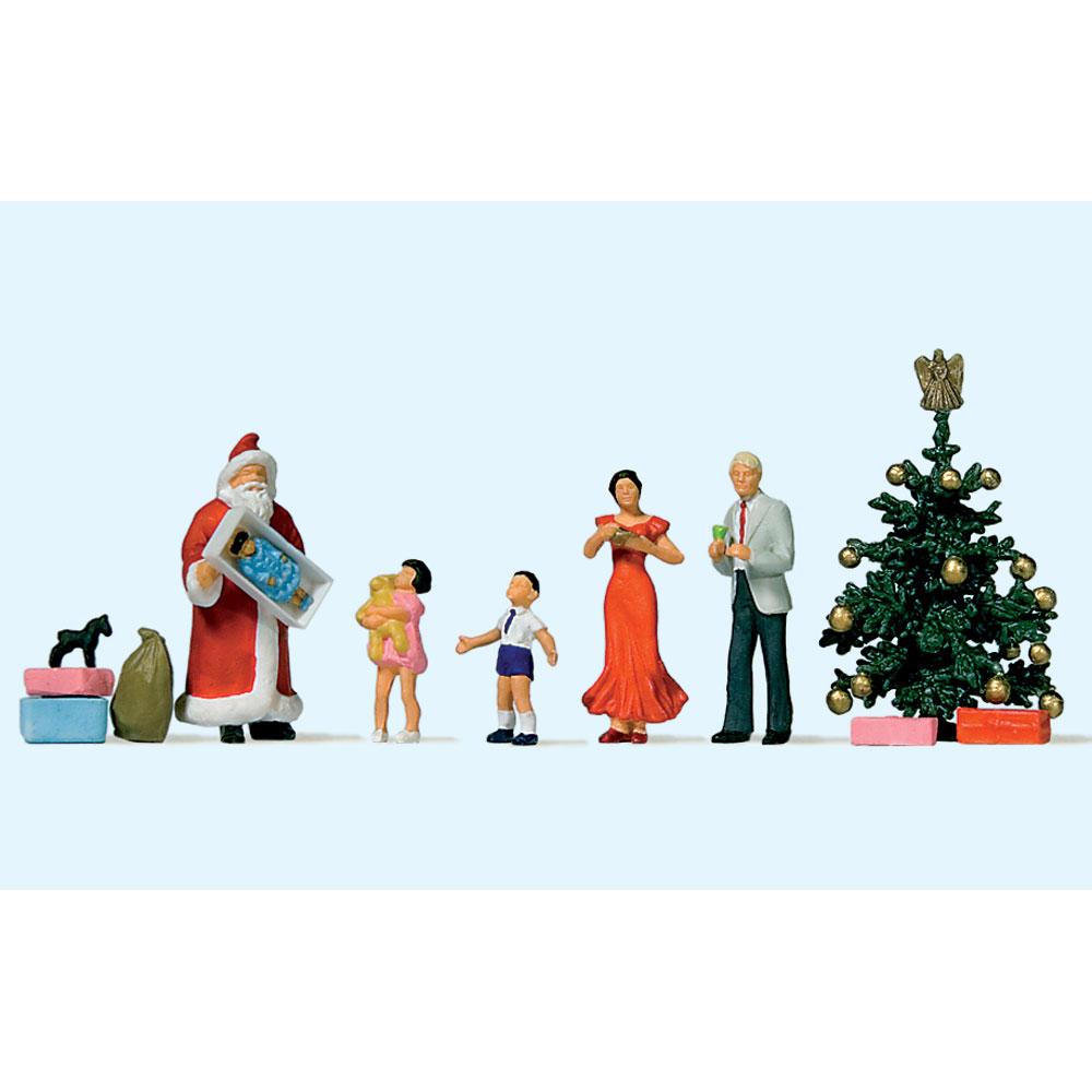 クリスマスセット(サンタクロース、ツリー、子供) :プライザー 塗装済完成品 HO(1/87) 10652