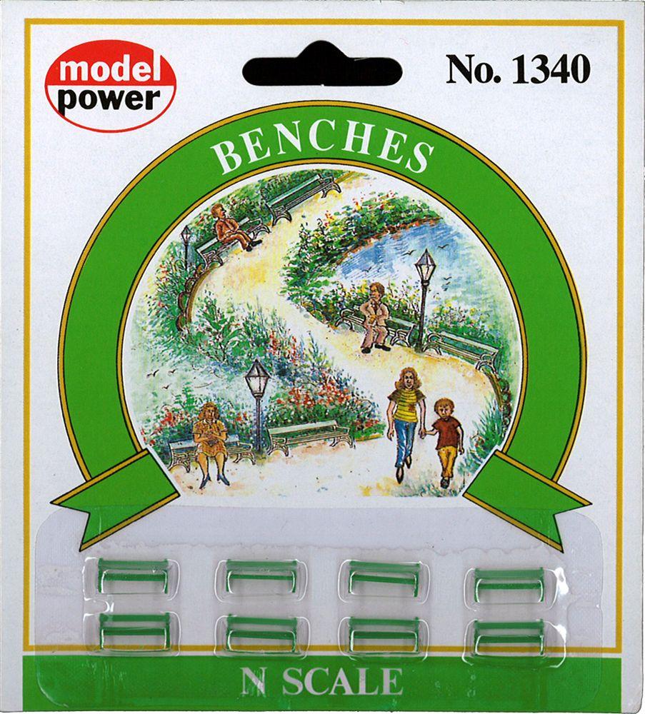 ベンチ8脚 :モデルパワー 塗装済完成品 N(1/160) 1340