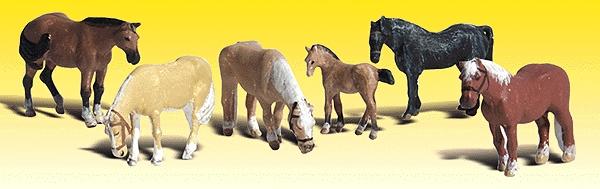 農場の馬 6頭 :ウッドランド 塗装済完成品 N(1/160) 2141