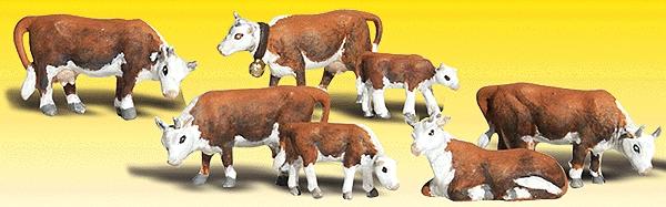 肉牛(ヘレフォード種) 7頭 :ウッドランド 塗装済完成品 N(1/160) 2144