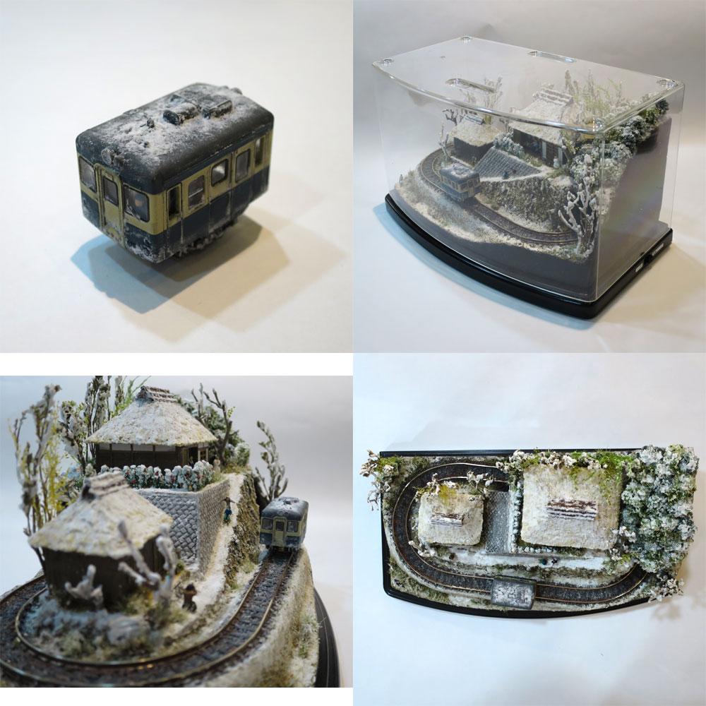 ダイソーケースレイアウト#16 「里山の冬」 :石川宜明 塗装済完成品 1/150サイズ