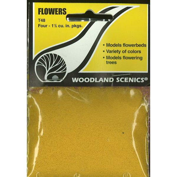 パウダー系素材 【フラワー】 4色セット(赤、白、黄色、オレンジ) :ウッドランド 素材 ノンスケール T48