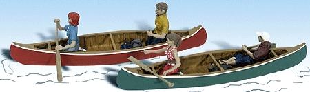 カヌーを漕ぐ 2隻 :ウッドランド 塗装済完成品 HO(1/87) 1918