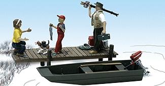 釣りをする家族 ボート付 :ウッドランド 塗装済完成品 HO(1/87) 1923
