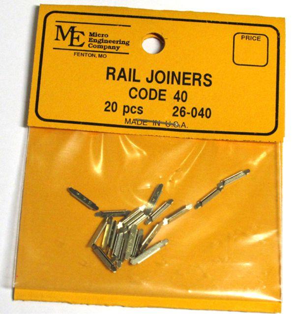 レールジョイナー コード40番用 20個入り:マイクロエンジニアリング 鉄道 素材 26-040