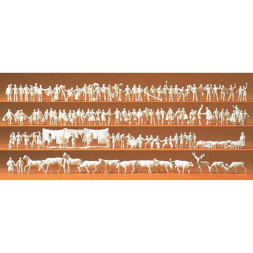 鉄道員、乗客、通行人、動物(馬、牛、鹿、羊など) 未塗装120体セット :プライザー 未塗装キット N(1/160) 79000