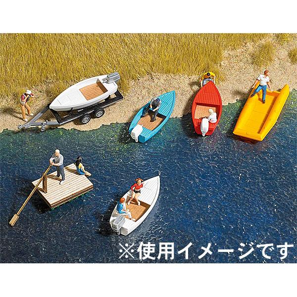 ボートセット(モーターボート、筏、ゴムボート、トレーラー) :ブッシュ 未塗装キット N(1/160) 8057