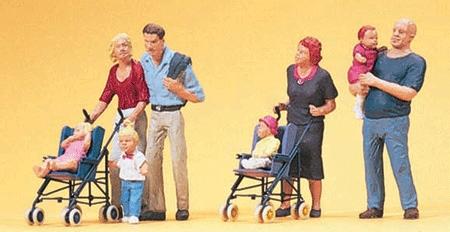 ベビーカーの赤ちゃんと親子連れ :プライザー 塗装済完成品 HO(1/87) 10494