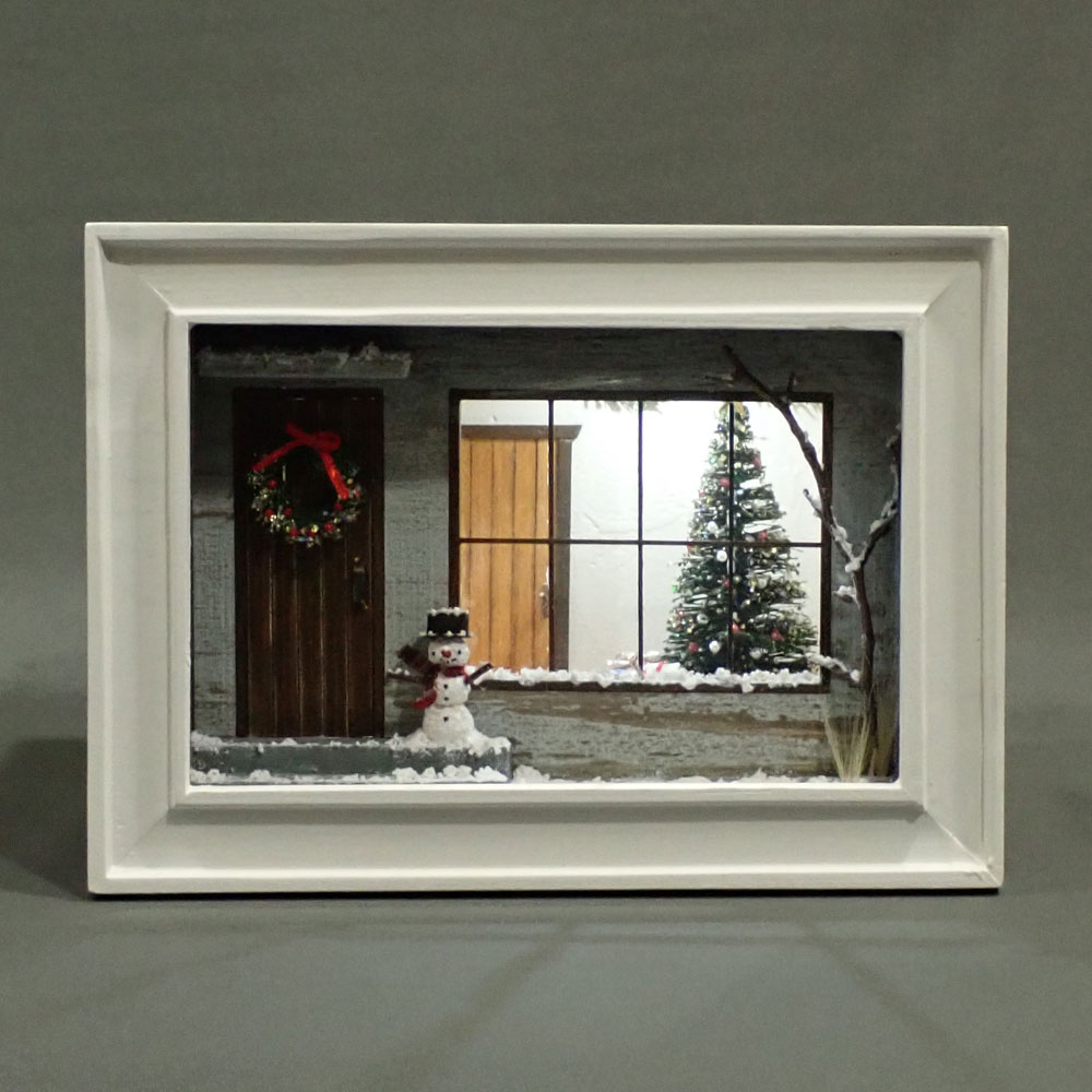 雪のクリスマス「青い家」 インフレーム :亀田信子 塗装済完成品 ノンスケール