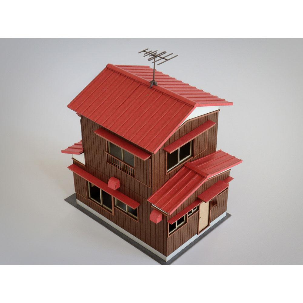 二階建住宅A カラーVer. :梅桜堂 N(1/150) 塗装済みキット ST-010-15C