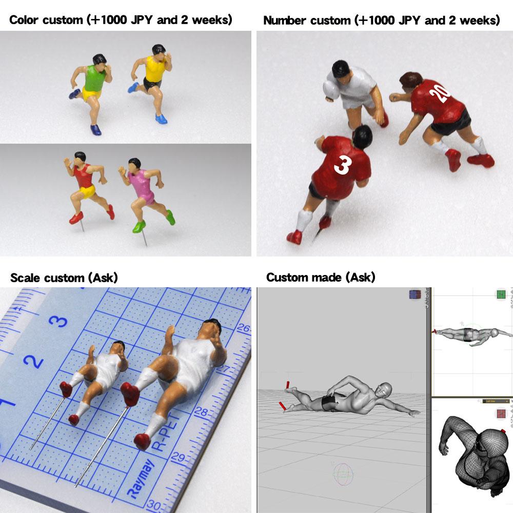 アスリート人形 卓球 構え 基本姿勢A :さかつう 3Dプリント 完成品 HO(1/87) 214
