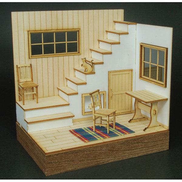 階段のある部屋 リビングルームA :コバーニ 未塗装キット 1/24 ss-021