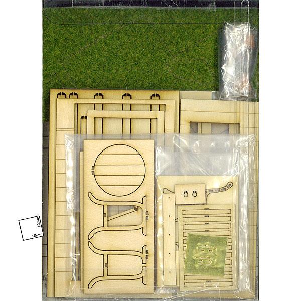 ハウスとデッキのある庭 ガーデンA :コバーニ 未塗装キット 1/24 ss-023