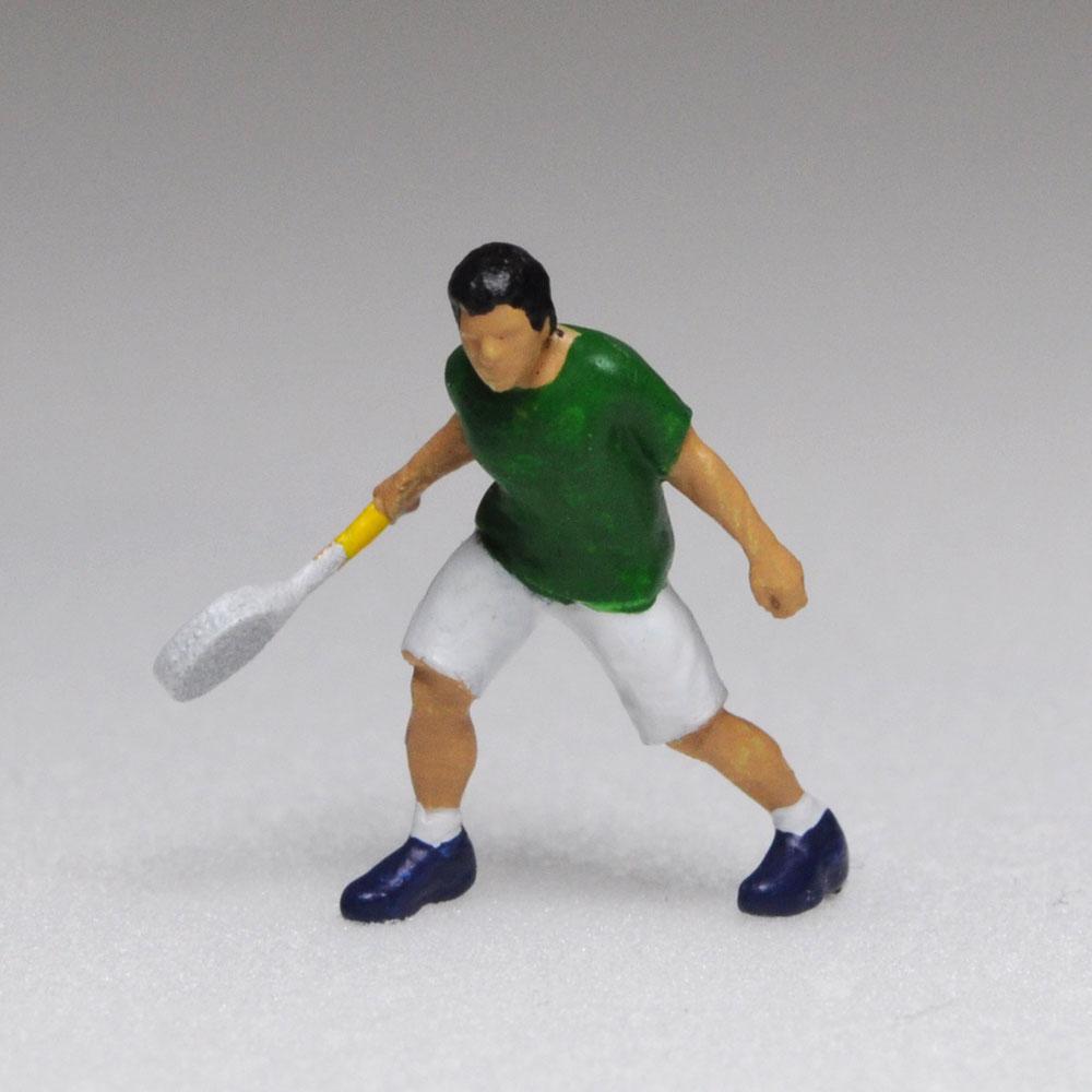 アスリート人形 バドミントン 構え 基本姿勢A :さかつう 3Dプリント 完成品 HO(1/87) 216