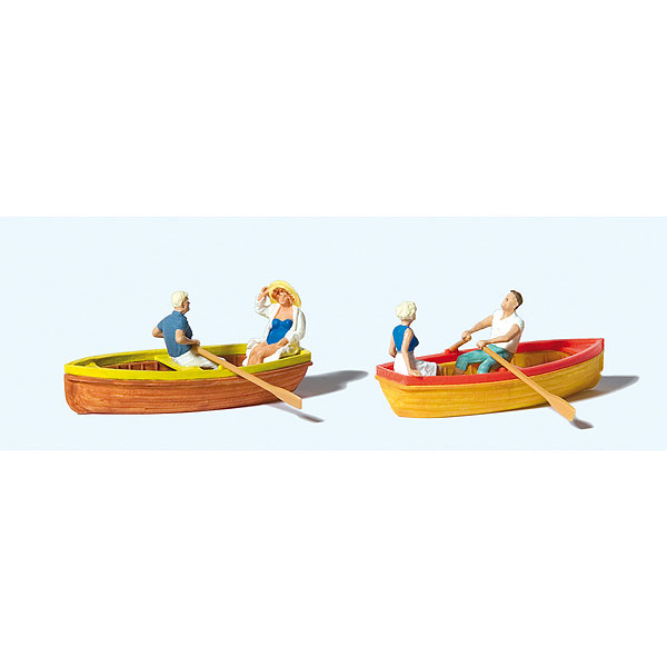 手漕ぎボートに乗るカップル 2組 :プライザー 塗装済完成品 HO(1/87) 10686