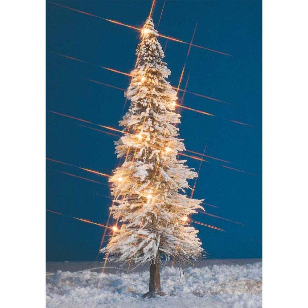 雪を被ったクリスマスツリー(電飾付き) 高さ20cm :ブッシュ 完成品  8624