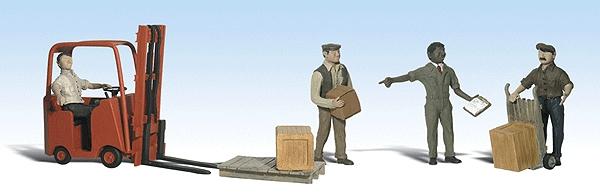 労働者とフォークリフト :ウッドランド 塗装済完成品 N(1/160) 2192