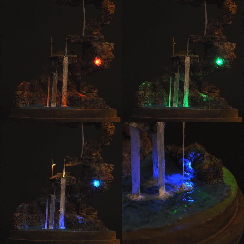 滝のある景色 :ライオン模型 藤平翔 塗装済完成品 ノンスケール