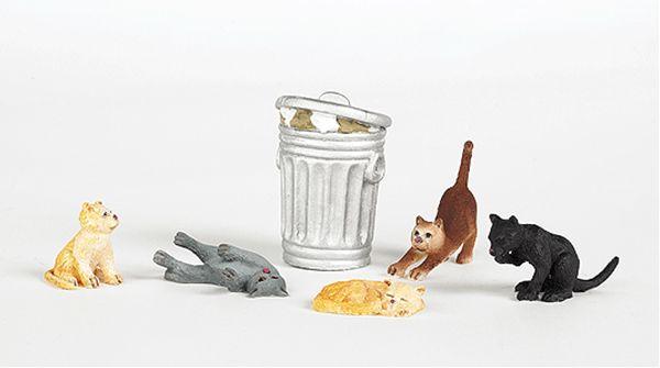 猫5匹とゴミバケツ :バックマン 塗装済み完成品 HO(1/87) 33107