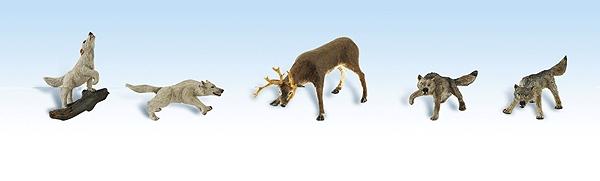 鹿を襲う狼の群れ :ウッドランド 塗装済完成品 HO(1/87) 1942