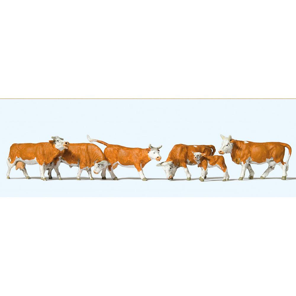 牛(白茶 ヘレフォード種) 6頭 :プライザー 塗装済完成品 HO(1/87) 10146