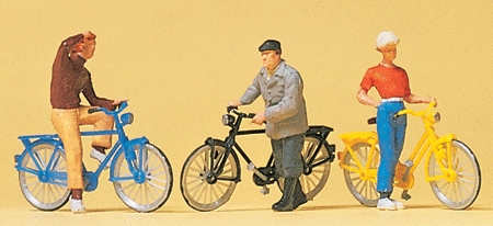 信号待ちの自転車に乗る人 :プライザー 塗装済完成品 HO(1/87) 10515