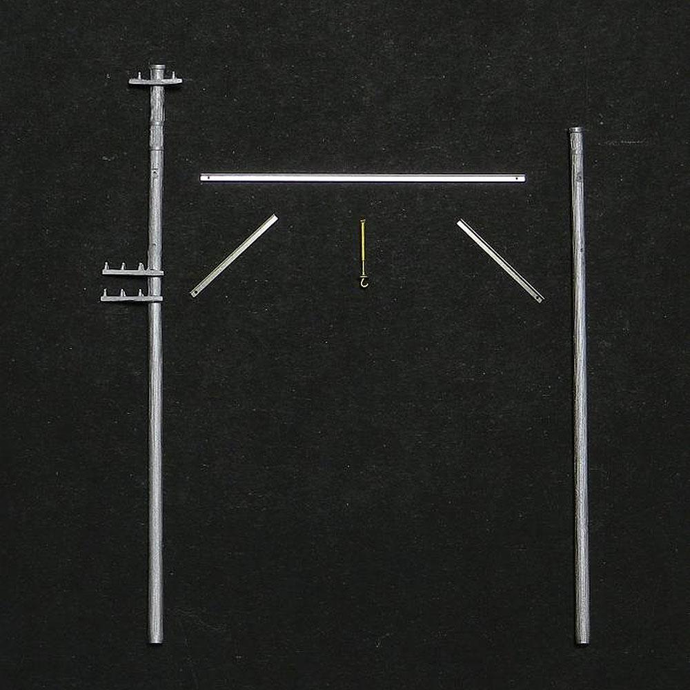 架線柱(両持/木製タイプ) 1組入 :エコーモデル 未塗装キット HO(1/80) 173