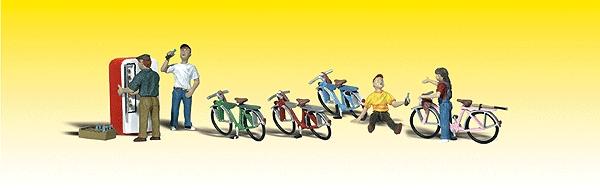自転車と子供たち :ウッドランド 塗装済完成品 N(1/160) 2194