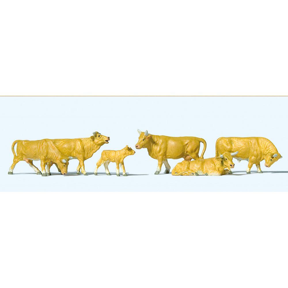 牛(茶 ジャージー種) 6頭 :プライザー 塗装済完成品 HO(1/87) 10147