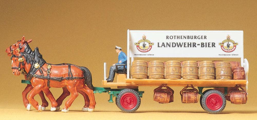 馬に牽かれるビールを乗せた荷馬車 :プライザー 塗装済完成品 HO(1/87) 30462