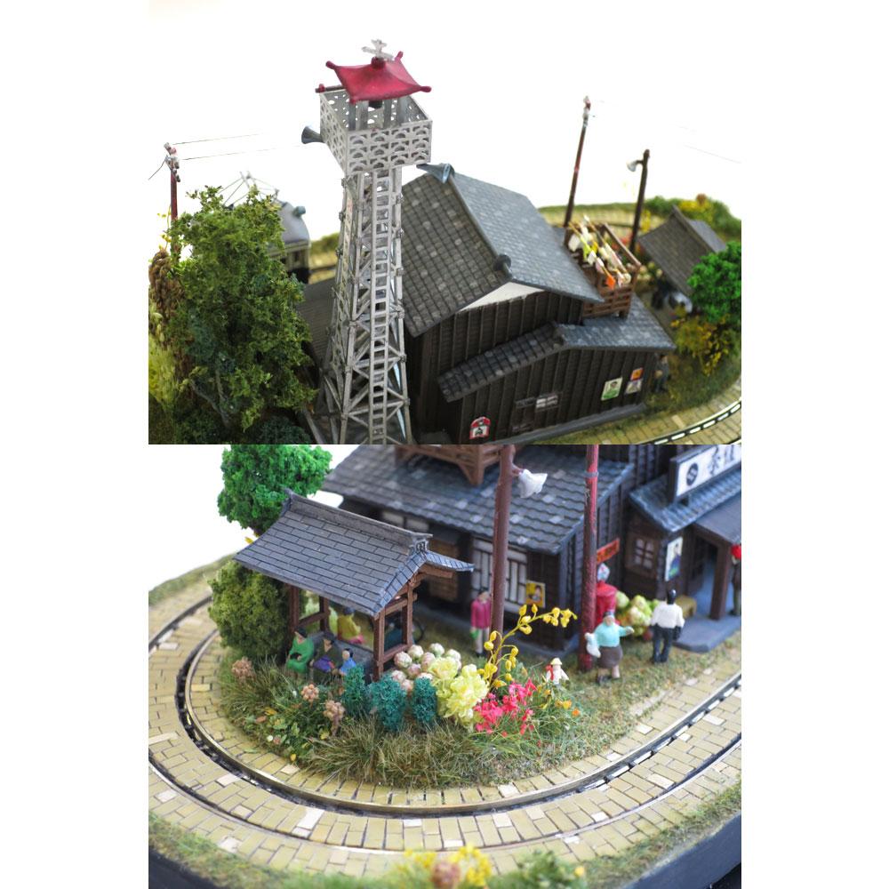 ダイソーケースレイアウト#13 「火の見やぐらとお食事処2」 :石川宜明 塗装済完成品 1/150サイズ