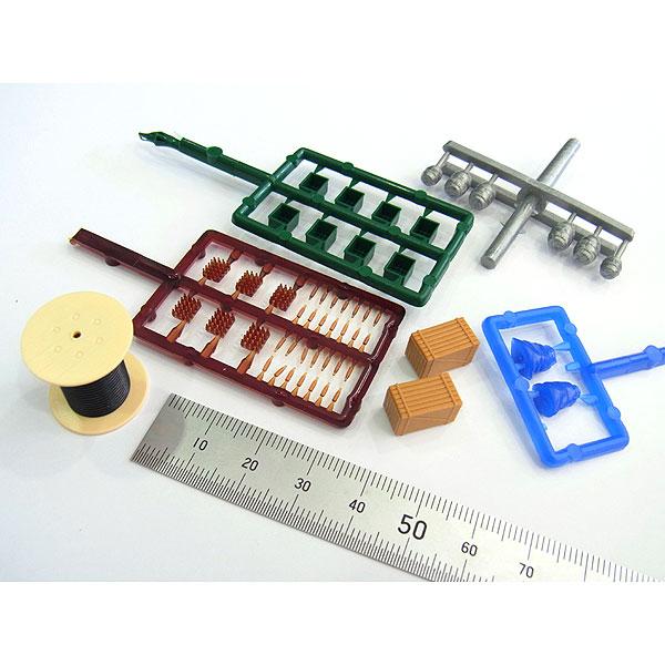 貨物積荷セット(樽、木箱、ビールケース、パレット、ワイヤーロール) :ブッシュ キット HO(1/87) 1132