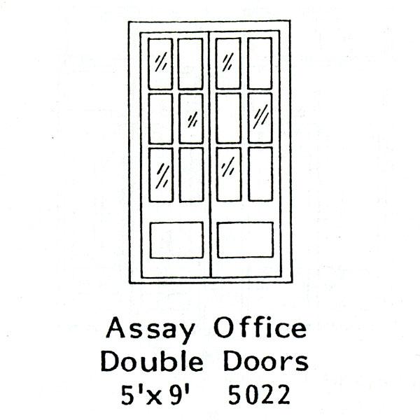 木製ドア オフィスダブルドア :グラントライン 未塗装キット(部品) HO(1/87) 5022