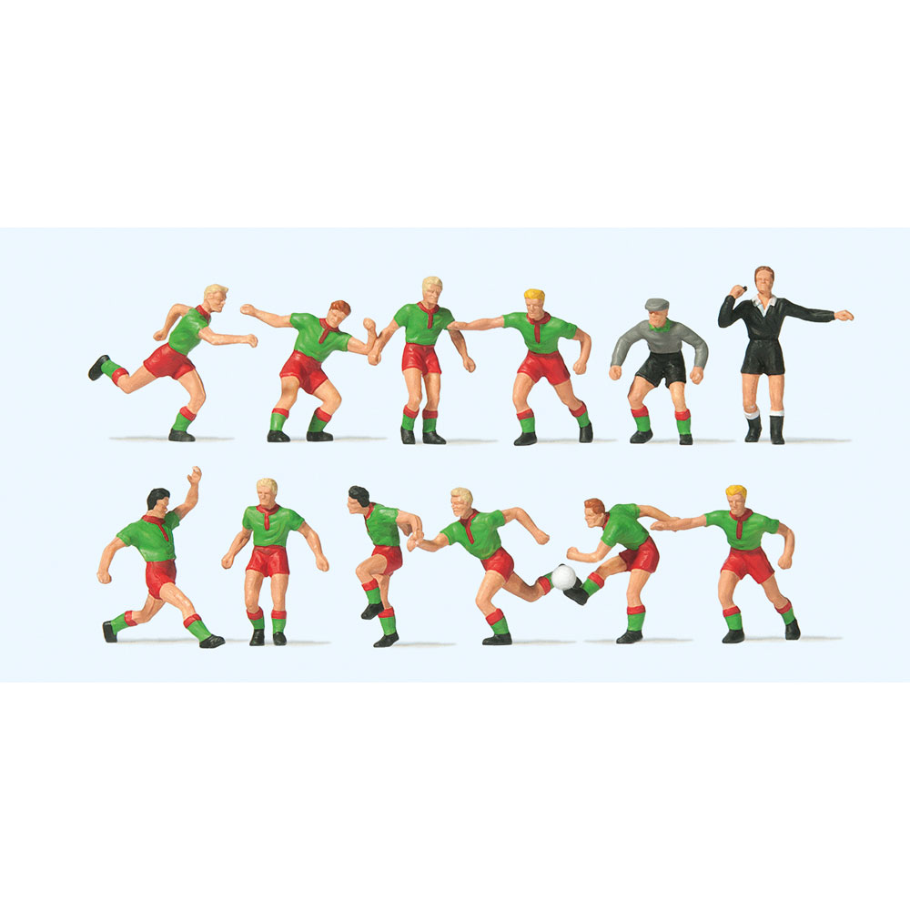 サッカーチームと審判(緑シャツ、赤パンツ) :プライザー 塗装済完成品 HO(1/87) 10757