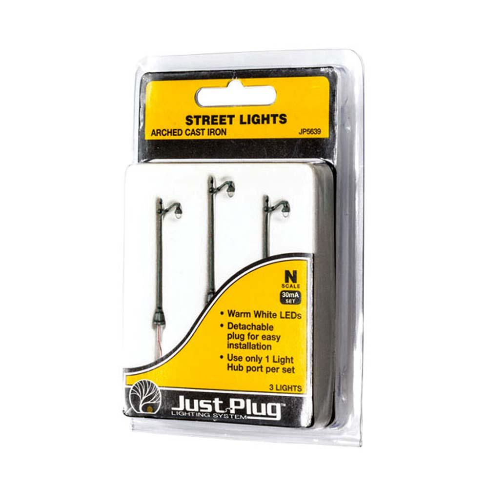 LED付き街路灯 鉄製支柱タイプ Nサイズ 3本セット JP5639 :ウッドランド 塗装済み完成品 N(1/160) Just Plug対応