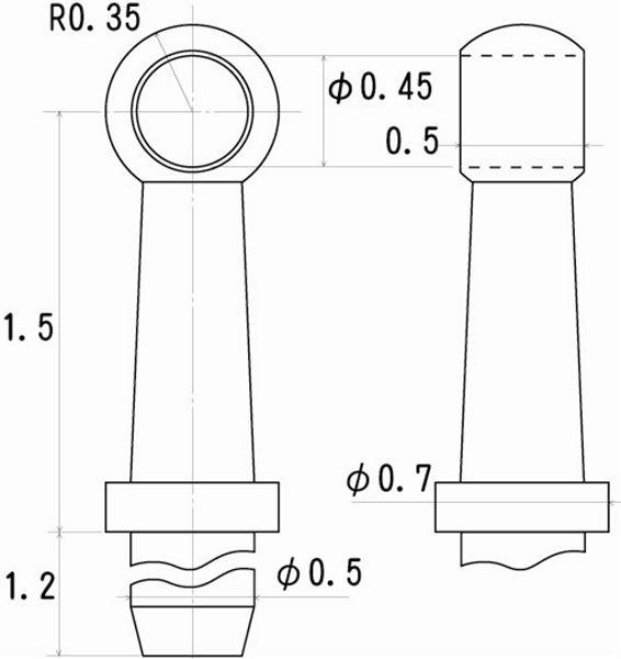ハンドレールノブ 高さ1.5mm 0.4mm線用 6個入り :さかつう ディテールアップ ノンスケール 5003