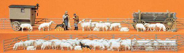 スーパーセット 羊80頭と羊飼い :プライザー 塗装済完成品 HO(1/87) 13003