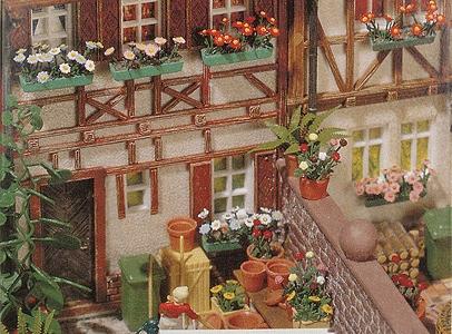 プランターに植わった花のキット :ブッシュ キット HO(1/87) 1208
