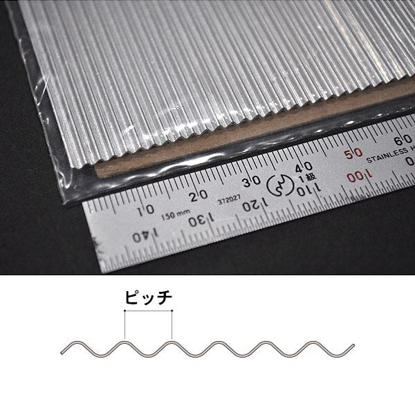 アルミ波板 【ピッチ約2.5mm】 200 x 76 mm 5枚入り :ノースイースタン 素材 G(1/22.5) 55055