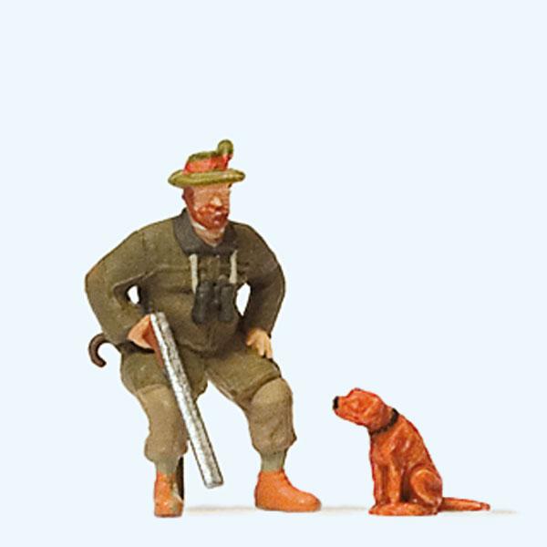 座っているハンターと犬 :プライザー 塗装済完成品 HO(1/87) 28129