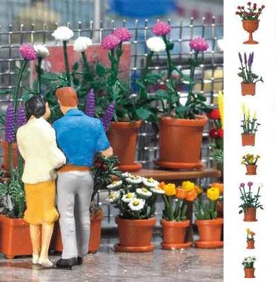 植木鉢に植わった花のキット :ブッシュ キット HO(1/87) 1209