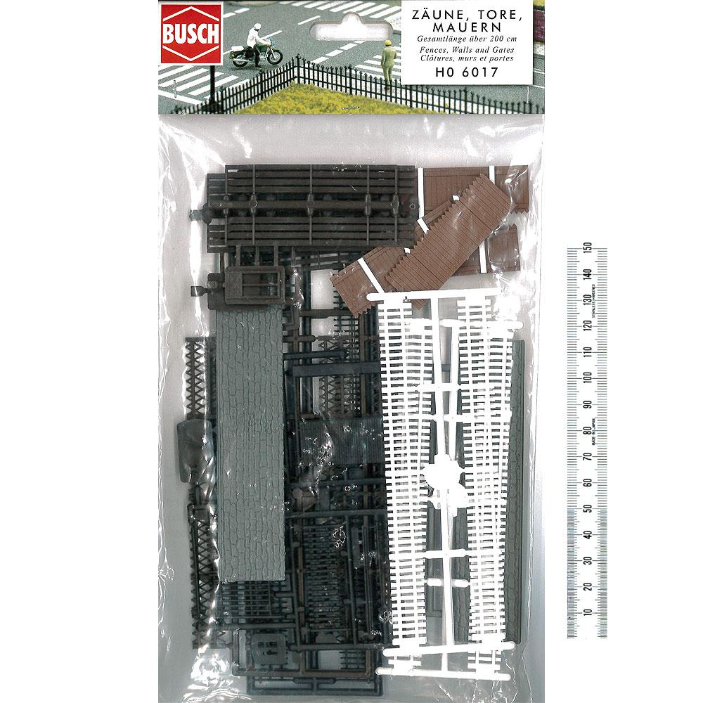 フェンス バラエティーセット(ゲート、フェンス、木柵、石垣など) :ブッシュ 未塗装キット HO(1/87) 6017