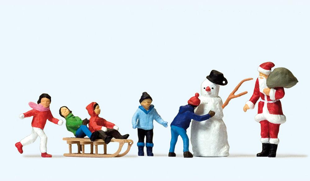 クリスマスセット サンタクロース、子供、雪だるま :プライザー 塗装済完成品 HO(1/87) 10626